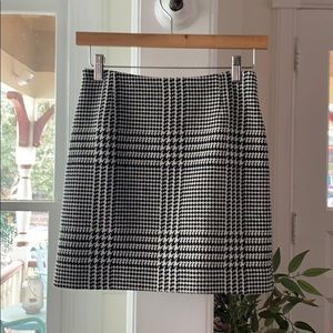 Wool blend houndstooth plaid mini skirt 00 XXS